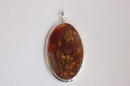 Oval Silver Pendant with Brown Agate - Product Code PS330119