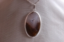 Oval Silver Pendant with Brown & White Smoky Agate - Product Code PS34069