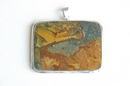 Square Silver Pendant with Green & Brown Jasper  - Product Code PS384131