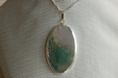 Oval Silver Pendant with Mossgreen Agate - Product Code PS33960