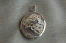 Oval Silver Pendant with Moss White Agate - Product Code PS34172