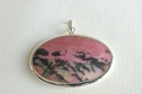 Oval Silver Pendant with Rhodonite -  Product Code PS371100