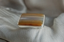 Square Silver Ring with Striped Agate - Size Q 1/2 - Product Code RS33524