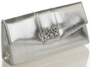 Natasha Silver Jewelled Clutch Bag