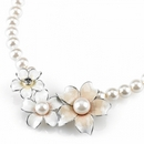Sophie Metal, Crystal And Faux Pearl Flower Necklace