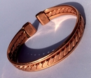 Magnetic Flattened Rope Pure Copper Bracelet with Side Bars